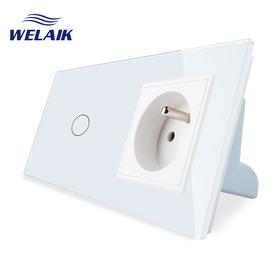 Włącznik dotykowy 1+G biały zestaw WELAIK