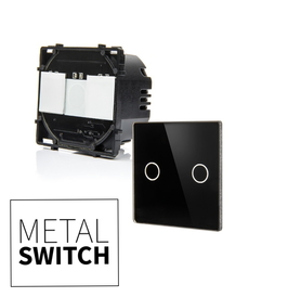 MetalSwitch moduł włącznika podwójnego z panelem czarnym