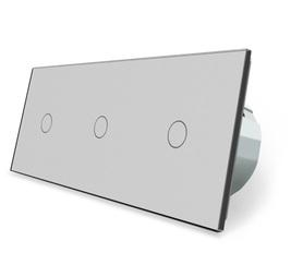 Włącznik dotykowy 1+1+1 szary zestaw