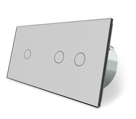 Włącznik dotykowy 1+2 szary zestaw