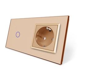 Włącznik dotykowy 1+G złoty zestaw