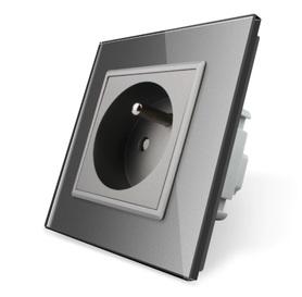 Gniazdo FR w ramce szklanej zestaw kolor szary