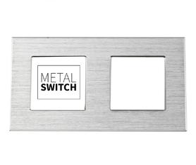 MetalSwitch ramka podwójna aluminiowa srebrna