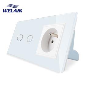 Włącznik dotykowy 2+G biały zestaw