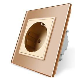 Gniazdo pojedyncze w ramce szklanej zestaw kolor ZŁOTY