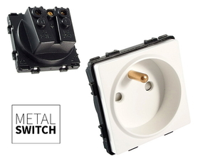 MetalSwitch moduł gniazdka pojedynczego biały