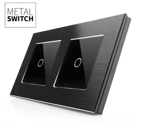 Włącznik dotykowy 1+1 aluminiowy czarny