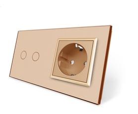 Włącznik dotykowy 2+G złoty zestaw