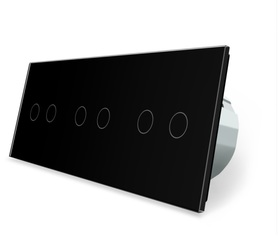 Włącznik dotykowy 2+2+2 czarny zestaw WELAIK
