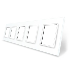 Ramka szklana 5 biała do gniazdek-modułów LIVE ON LOVE