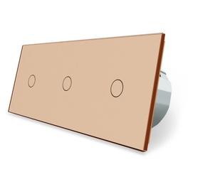 Włącznik dotykowy 1+1+1 złoty zestaw