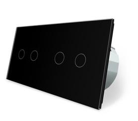 Włącznik dotykowy 2+2 czarny zestaw WELAIK
