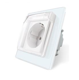 Gniazdo pojedyncze w ramce szklanej z klapką kolor biały