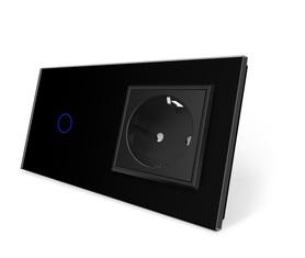 Włącznik dotykowy 1+G czarny zestaw