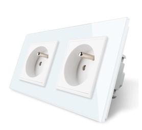 Gniazdo FR podwójne w ramce szklanej zestaw kolor biały