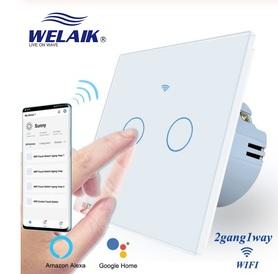 Włącznik WIFI dotykowy podwójny biały zestaw WELAIK ®