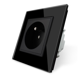Gniazdo FR pojedyncze w ramce szklanej zestaw kolor czarny