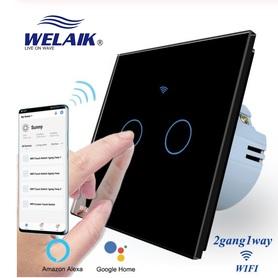 Włącznik WIFI dotykowy podwójny czarny zestaw WELAIK ®