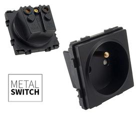 MetalSwitch moduł gniazdka pojedynczego czarny