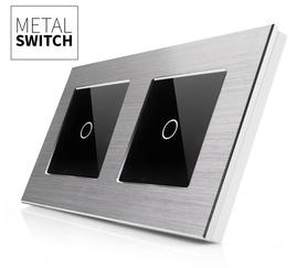 Włącznik dotykowy 1+1 aluminiowy srebrny