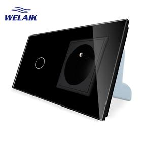 Włącznik dotykowy 1+G czarny zestaw WELAIK