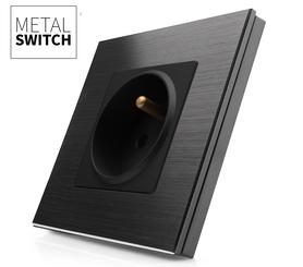 Gniazdko czarne w ramce aluminiowej kolor czarny