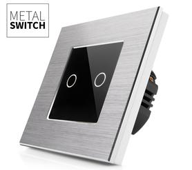 Włącznik dotykowy podwójny aluminiowy kolor srebrny