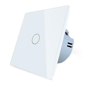Włącznik dotykowy pojedynczy biały zestaw