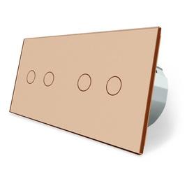 Włącznik dotykowy 2+2 złoty zestaw