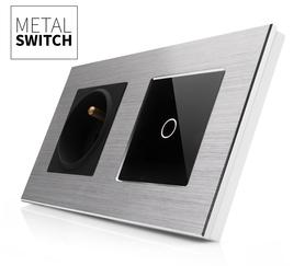 Włącznik dotykowy pojedynczy aluminiowy srebrny z czarnym gniazdem