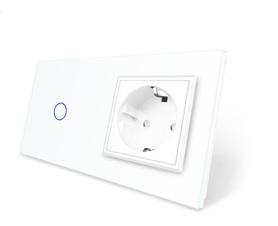 Włącznik dotykowy 1+G biały zestaw