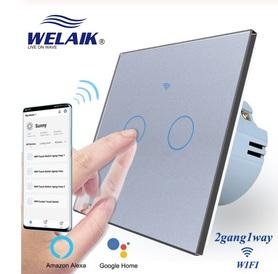 Włącznik WIFI dotykowy podwójny szary zestaw WELAIK ®