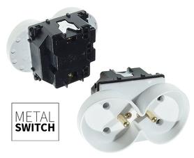 MetalSwitch moduł gniazdka podwójnego biały