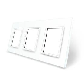 Ramka szklana 3 do gniazdek-modułów biała WELAIK