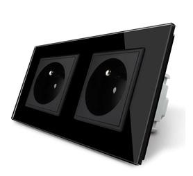 Gniazdo FR podwójne w ramce szklanej zestaw kolor czarny