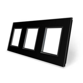 Ramka szklana 3 do gniazdek-modułów czarna WELAIK