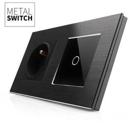 Włącznik dotykowy pojedynczy aluminiowy czarny z czarnym gniazdem