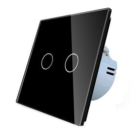 Włącznik dotykowy podwójny czarny zestaw