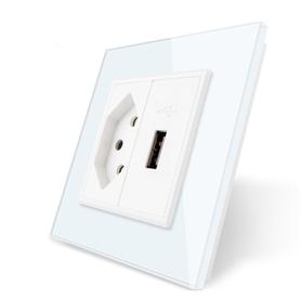 Gniazdo pojedyncze wąskie + USB ładowarka 5V zestaw kolor biały
