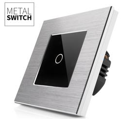 Włącznik dotykowy pojedynczy aluminiowy kolor srebrny