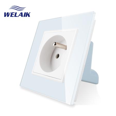 Gniazdo FR w ramce szklanej zestaw kolor biały WELAIK (1)