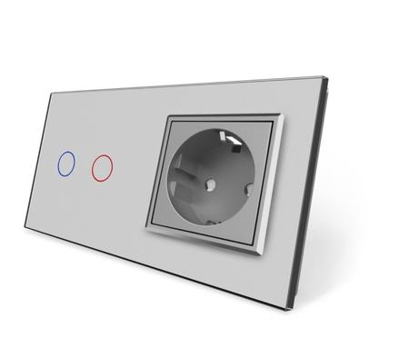 Włącznik dotykowy 2+G szary zestaw (1)