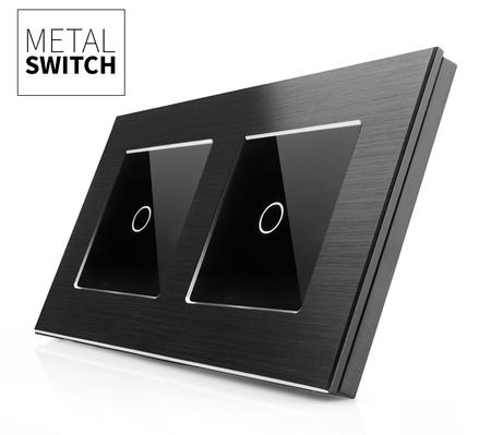 Włącznik dotykowy 1+1 aluminiowy czarny (1)