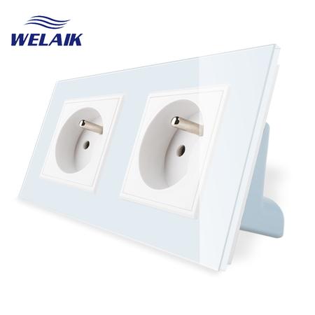 Gniazdo FR podwójne w ramce szklanej zestaw kolor biały WELAIK (1)