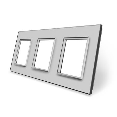 Ramka szklana 3 do gniazdek-modułów szara (1)