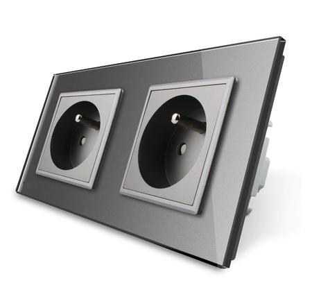 Gniazdo FR podwójne w ramce szklanej zestaw kolor szary WELAIK (1)