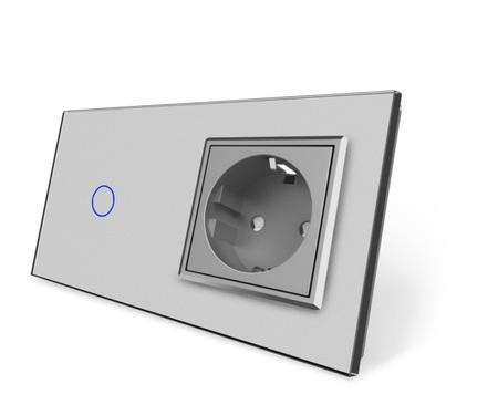 Włącznik dotykowy 1+G szary zestaw (1)