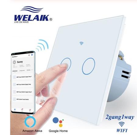 Włącznik WIFI dotykowy podwójny biały zestaw WELAIK ® (1)