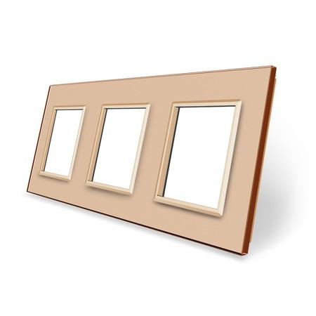 Ramka szklana 3 do gniazdek-modułów złota (1)