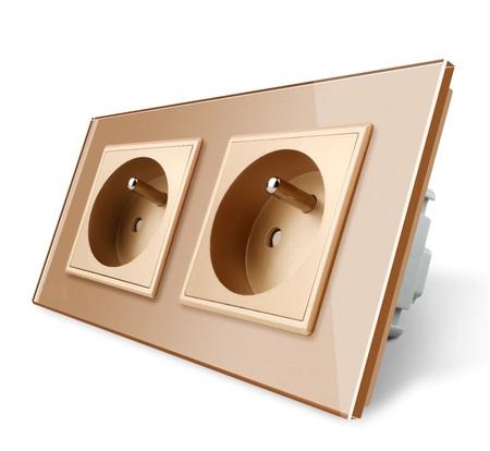 Gniazdo FR podwójne w ramce szklanej zestaw kolor złoty (1)